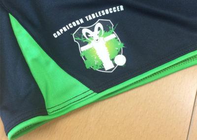 Textildruck für Capricorn Tablesoccer Spiel Trainingsbekleidung Hosen