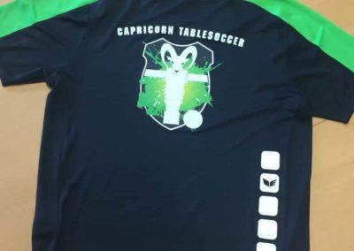 Textildruck für Capricorn Tablesoccer Spiel Trainingsbekleidung T-Shirt Rücken