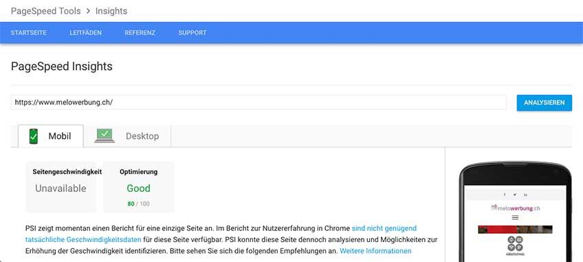 Ein Bild des Page speed der melowerbung.ch Handy Seite