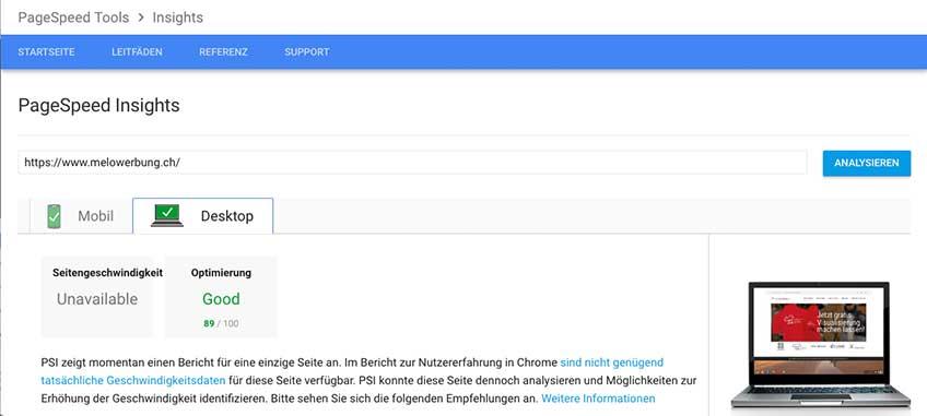 Ein Bild des Page speed der melowerbung.ch Webseite