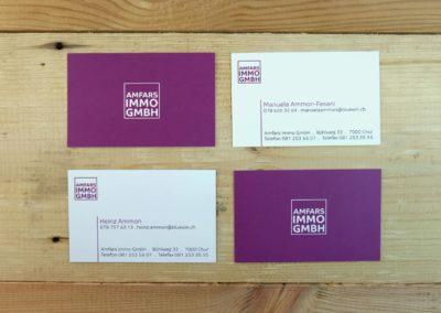Logo und Visitenkarten für Amfars Immobilien