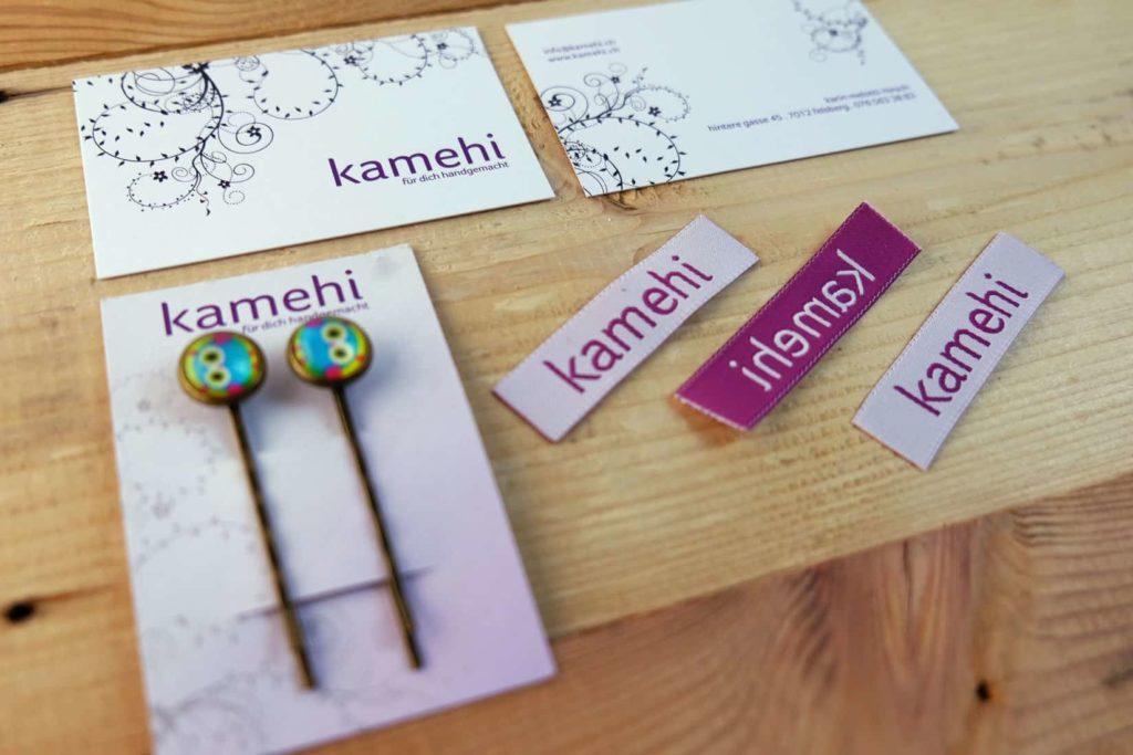 Visitenkarten und Weblabels für kamehi.ch