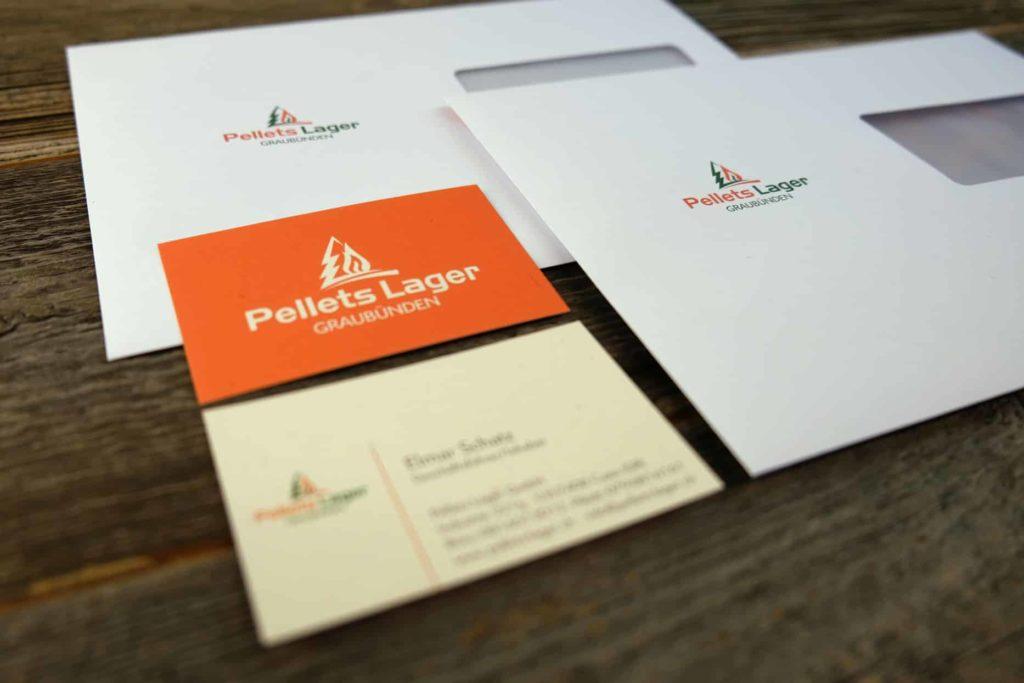 Logo, Visitenkarte und Brief Couvert für Pellets Lager Graubünden