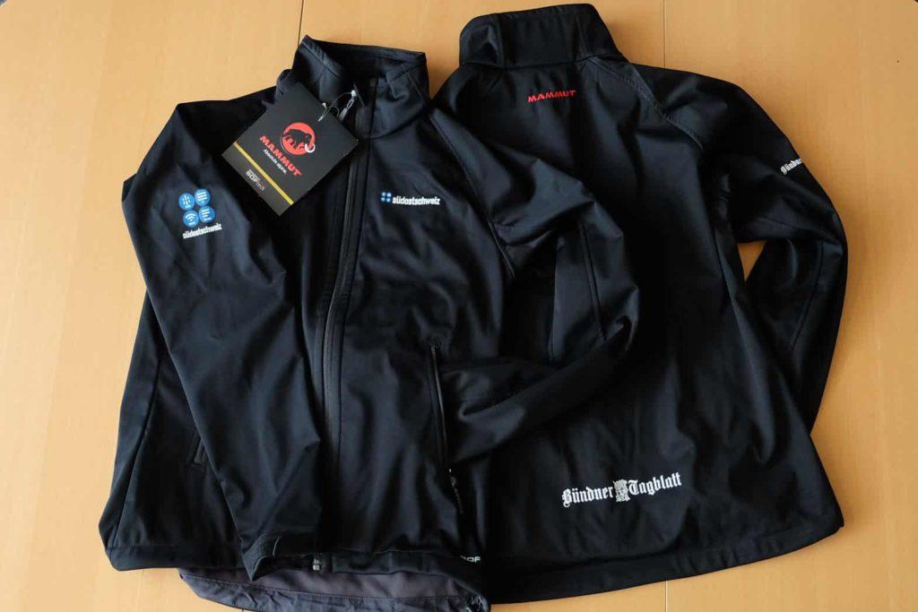 Textildruck auf Mammut Softshell Jacken für Die Südostschweiz und das Bündner Tagblatt