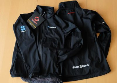 Textildruck auf Mammut Softshell Jacken für Südostschweiz und Bündner Tagblatt