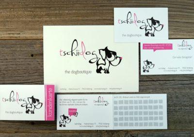 Postkarte, Visitenkarten sowie Kundenkarte für tschiidog