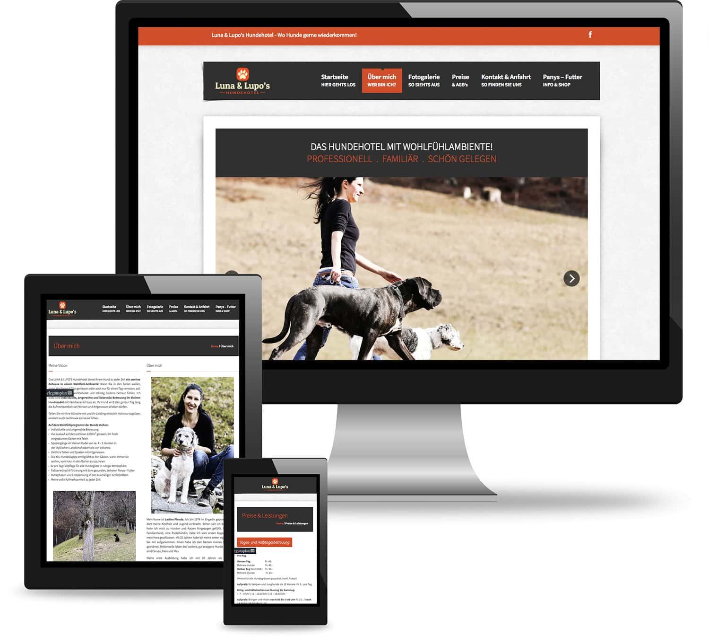 Webseite des Hundehotels Luna & Lupo
