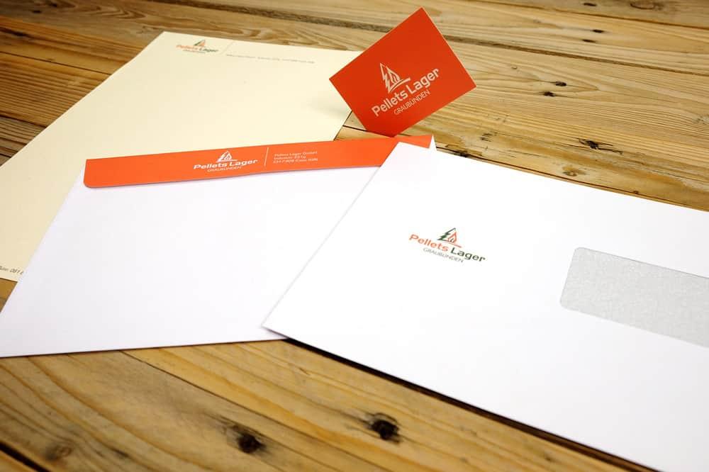 Logo und Briefschaften für Pellets Lager, Graubünden