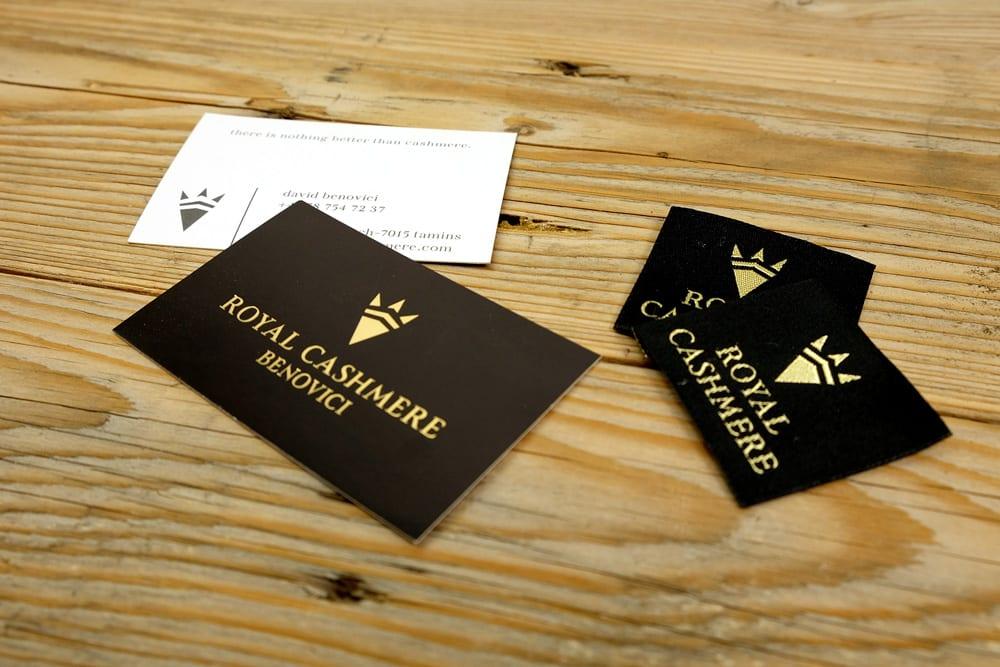 Visitenkarten und Weblabels für die Kleiderauszeichnung für Royal Cashmere.