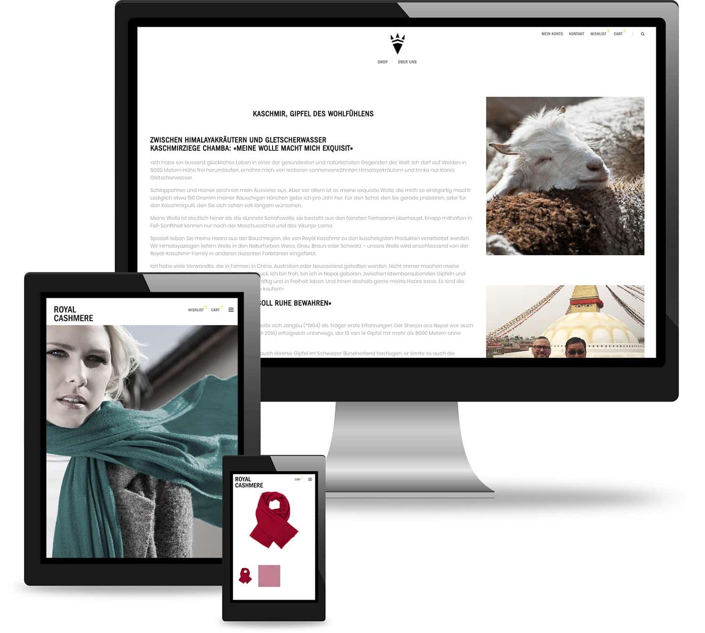 Webseite von Royal Cashmere inkl Webshop