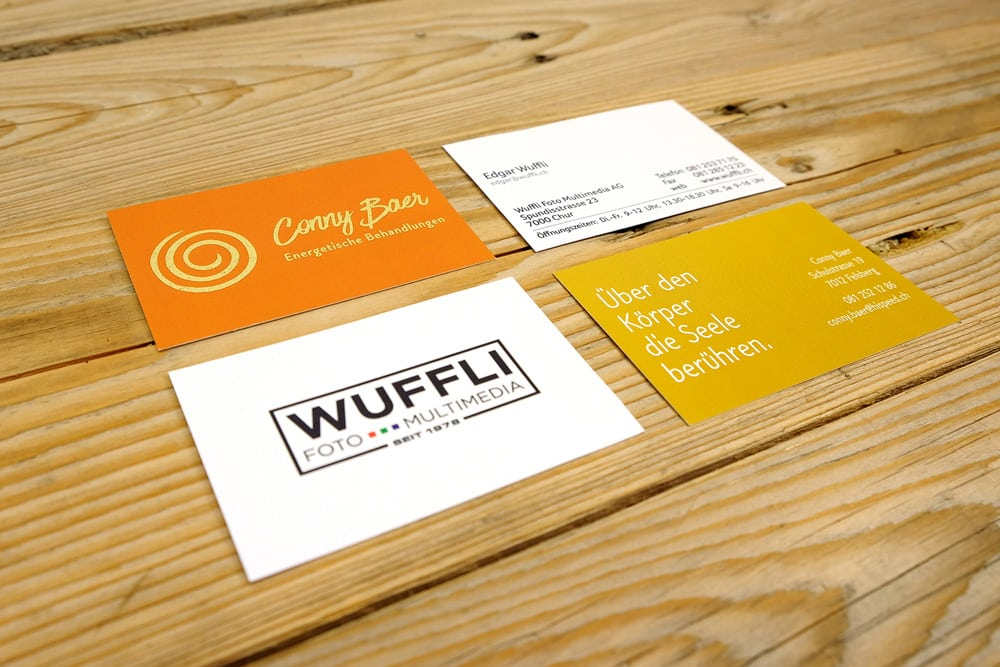 Visitenkarten Wuffli und Conny Baer mit Goldfoliendruck