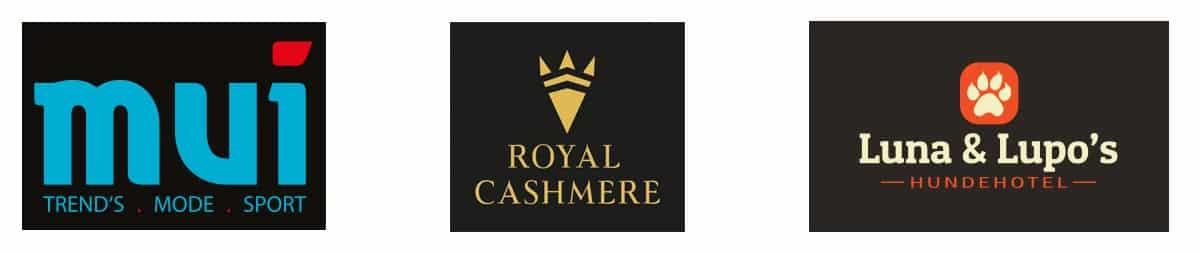 Logo Design mui, Royal Cashmere und Luna & Lupos Hundehotel