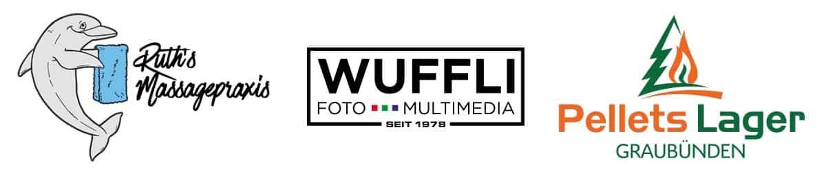 Logo Design Ruths Massagepraxis, Wuffli Foto Multimedia und Pellets Lager Graubünden