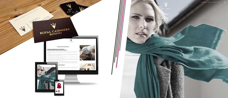 Logo Design Visitenkarten und Webseite für Royal Cashmere