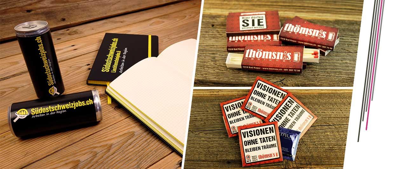 Diverse Werbeartikel wie Kondombriefchen, Zündhölzer, Energy Drinks und Notitzbücher