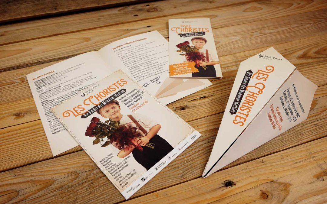 Flyer sowie Programm zu einem Konzert der Singschule Chur