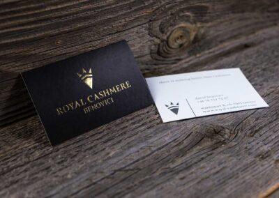 Visitenkarten mit Goldprägung für Royal Cashmere