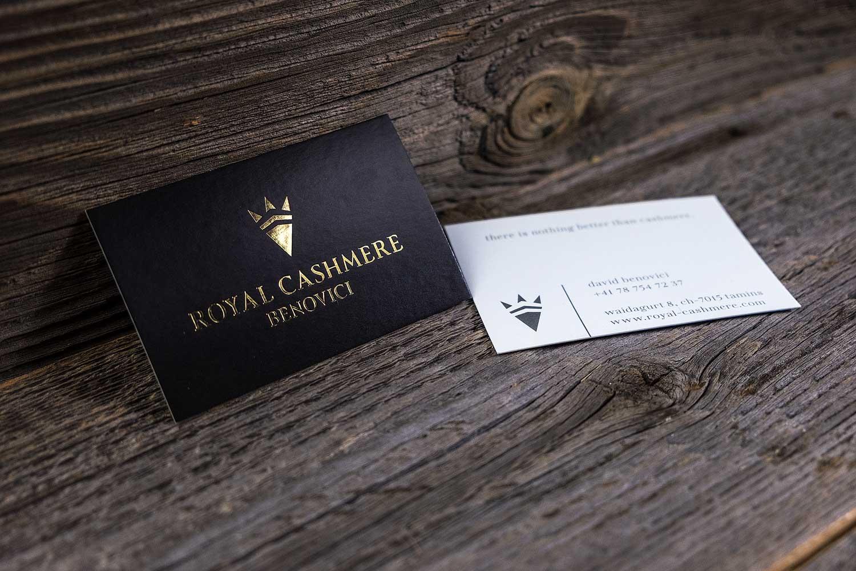 Visitenkarten Mit Goldprägung Für Royal Cashmere Melo Gmbh