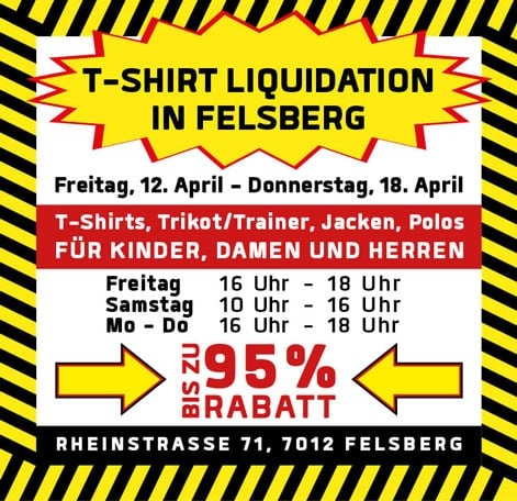 Flyer von der T-Shirt Liquidation - quer
